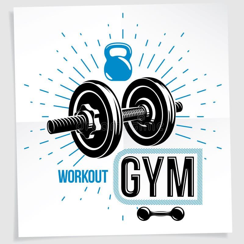 Cartel de la publicidad del vector del centro de deportes usando pesa de gimnasia del peso del disco y el equipo de elevación de  libre illustration