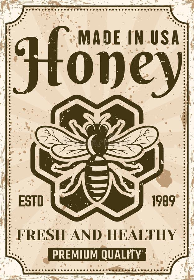 Cartel de la publicidad del vector de la miel en estilo del vintage stock de ilustración