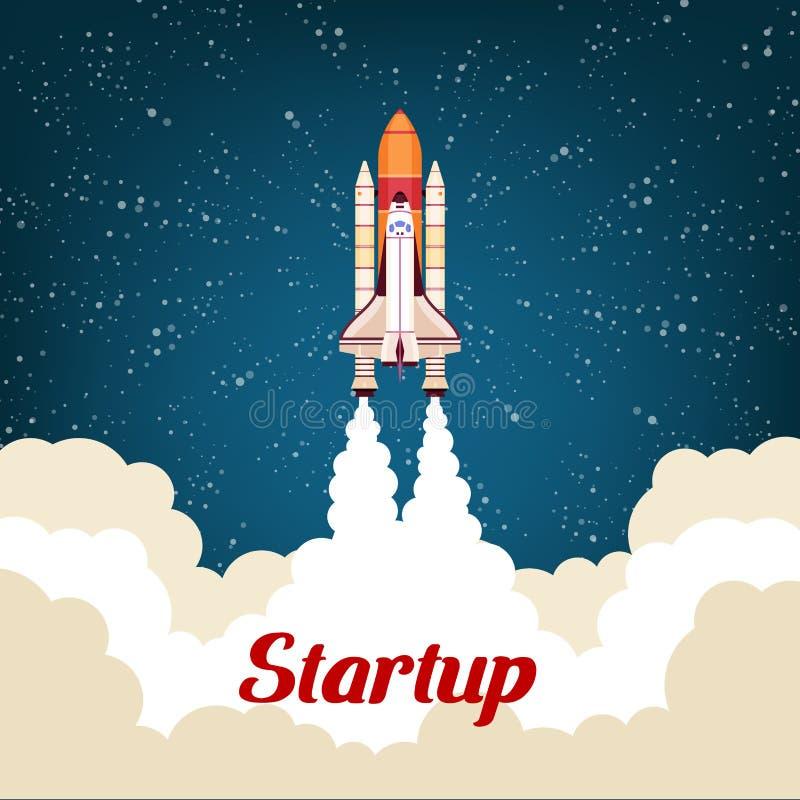 Cartel de la puesta en marcha del negocio con el cohete libre illustration