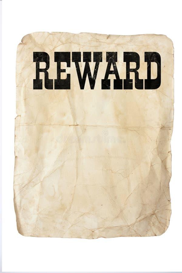Cartel de la recompensa fotografía de archivo