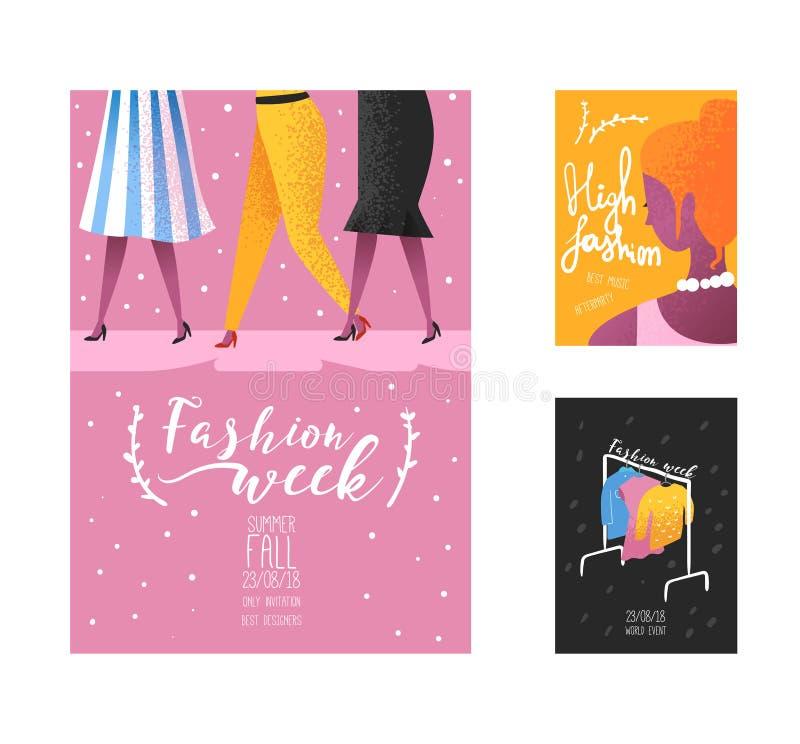 Cartel de la semana de la moda, plantilla de la bandera, cartel, folleto Modelos de moda, nueva colección de la ropa, compras en  stock de ilustración