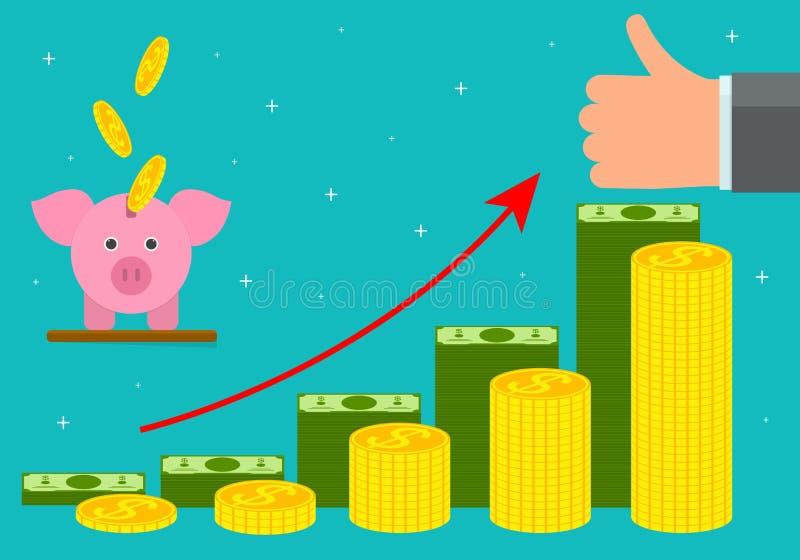 Cartel de la tarjeta del concepto del dinero del retiro de la historieta Vector stock de ilustración