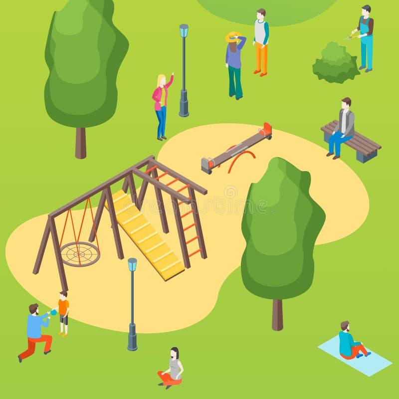 Cartel de la tarjeta del concepto del parque público y del patio de los niños Vector stock de ilustración