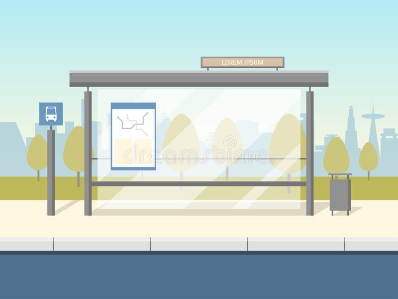 Cartel de la tarjeta de la parada de autobús de la historieta Vector ilustración del vector