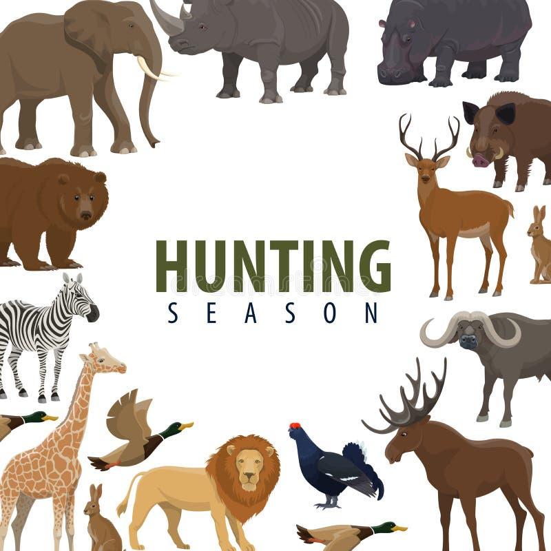 Cartel de la temporada de caza del animal salvaje y del pájaro stock de ilustración