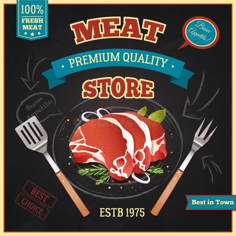 Cartel de la tienda de la carne stock de ilustración