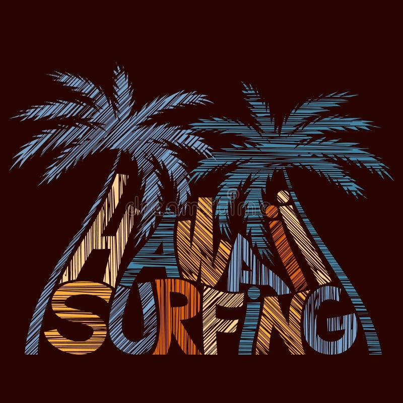 Cartel de la tipografía de Hawaii que practica surf Concepto en estilo del vintage stock de ilustración
