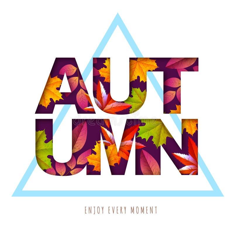 Cartel de la tipografía del otoño con el fondo de las hojas de otoño Dise?o cortado del estilo del arte del papel libre illustration