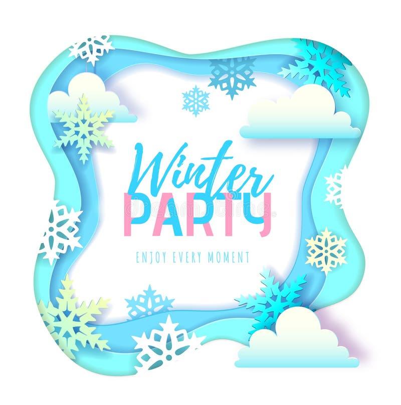 Cartel de la tipografía del partido del invierno con los copos de nieve y las nubes Dise?o cortado del estilo del arte del papel libre illustration