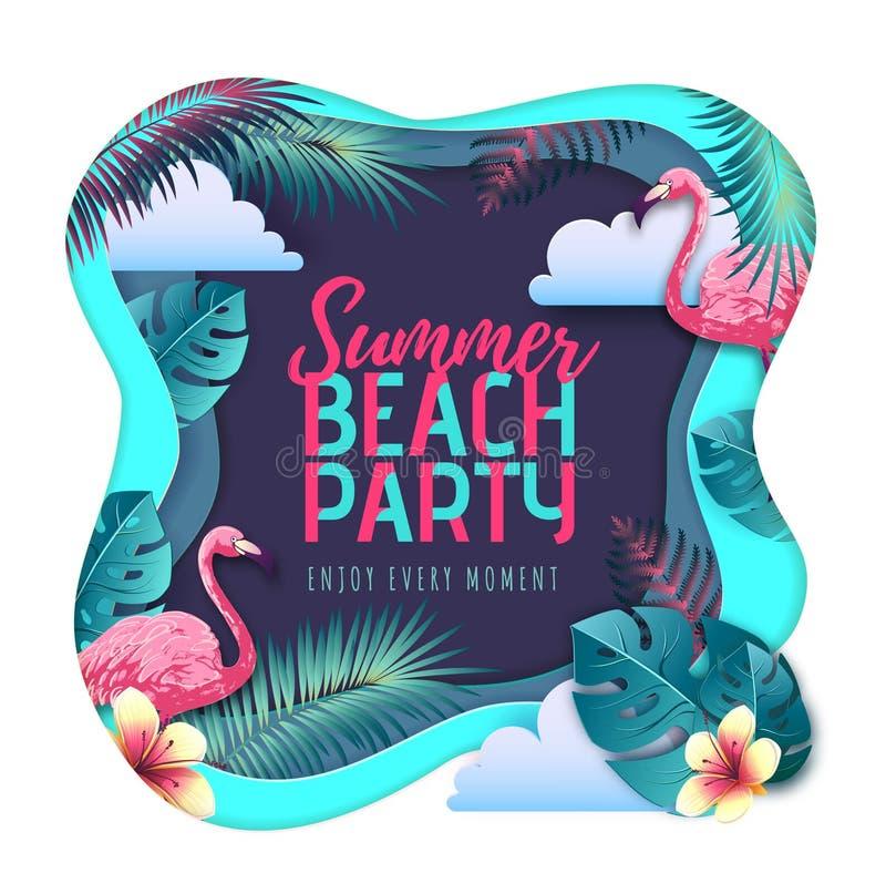 Cartel de la tipografía del partido de la playa del verano con las hojas del flamenco y del trópico Concepto de la naturaleza Dis ilustración del vector