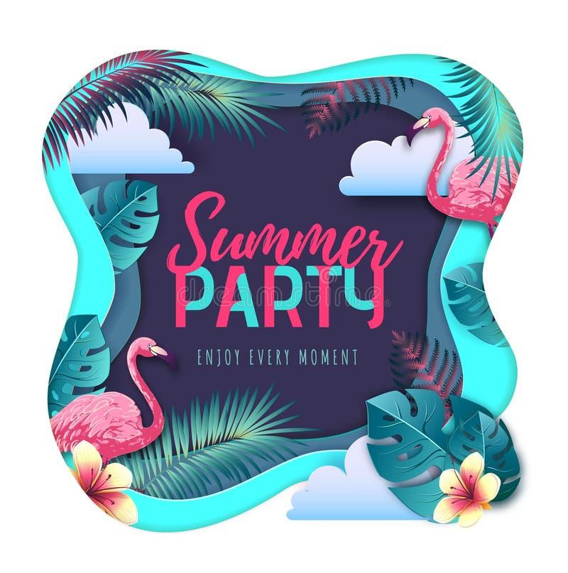 Cartel de la tipografía del partido del verano con las hojas del flamenco y del trópico Concepto de la naturaleza Dise?o cortado  libre illustration