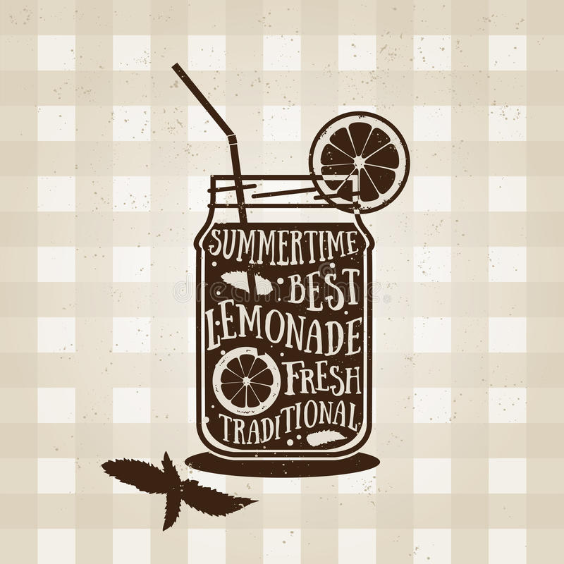 Cartel de la tipografía del vector con el icono de la limonada cotización stock de ilustración