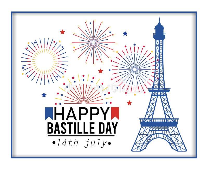 Cartel de la torre Eiffel con la celebración de los fuegos artificiales ilustración del vector