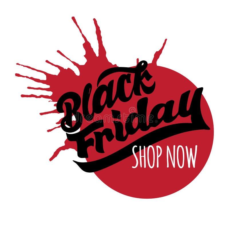 Cartel de la venta de Black Friday, bandera, cabeza del sitio web con las letras dibujadas mano stock de ilustración