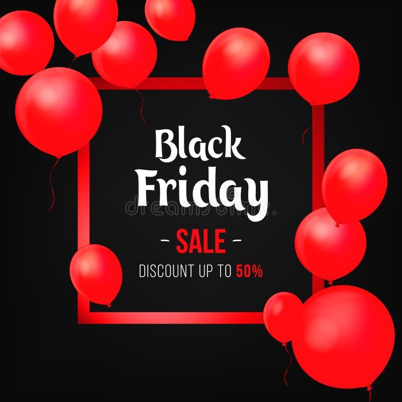 Cartel de la venta de Black Friday con los globos brillantes en fondo negro ilustración del vector
