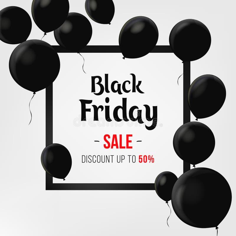 Cartel de la venta de Black Friday con los globos brillantes en fondo negro con el capítulo cuadrado Diseño de la plantilla de la stock de ilustración