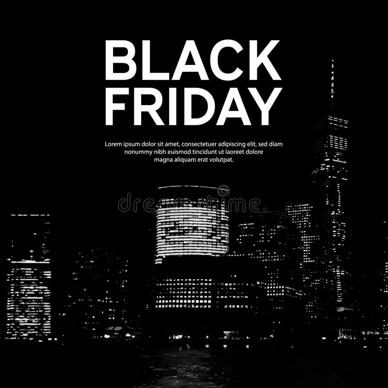 Cartel de la venta de Black Friday en fondo grande de la ciudad Nueva York Ilustración del vector fotografía de archivo