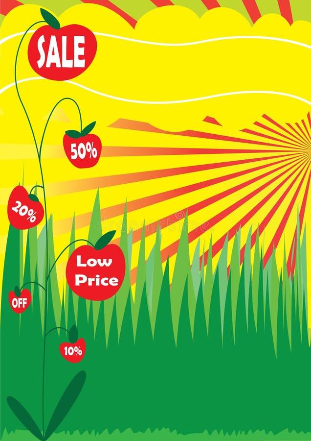 Cartel de la venta con la planta stock de ilustración