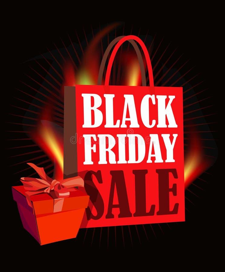 Cartel de la venta de Black Friday en diseño retro con el panier y el fuego ilustración del vector