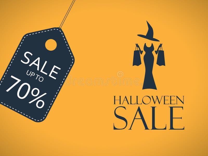 Cartel de la venta de Halloween Etiqueta engomada del descuento con atractivo libre illustration