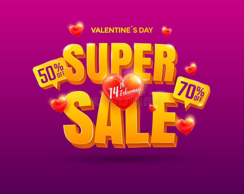 Cartel de la venta del día de tarjetas del día de San Valentín ilustración del vector