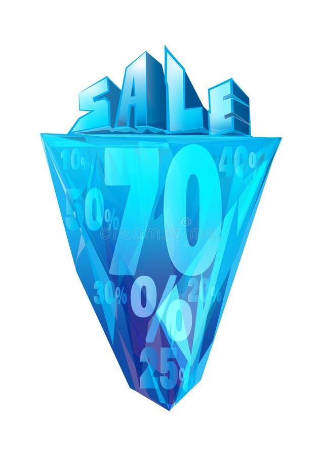 Cartel de la venta del iceberg stock de ilustración