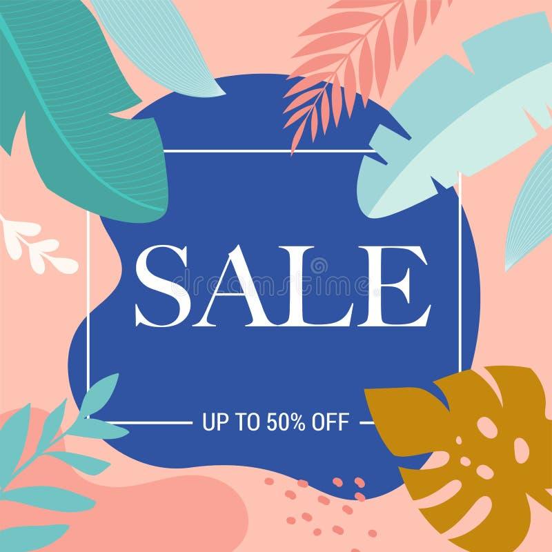Cartel de la venta del verano con las hojas y el flamenco tropicales, bandera y fondo en estilo plano moderno Ilustraci?n del vec ilustración del vector