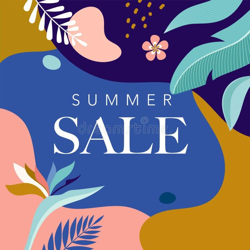 Cartel de la venta del verano con las hojas y el flamenco tropicales, bandera y fondo en estilo plano moderno Ilustraci?n del vec stock de ilustración