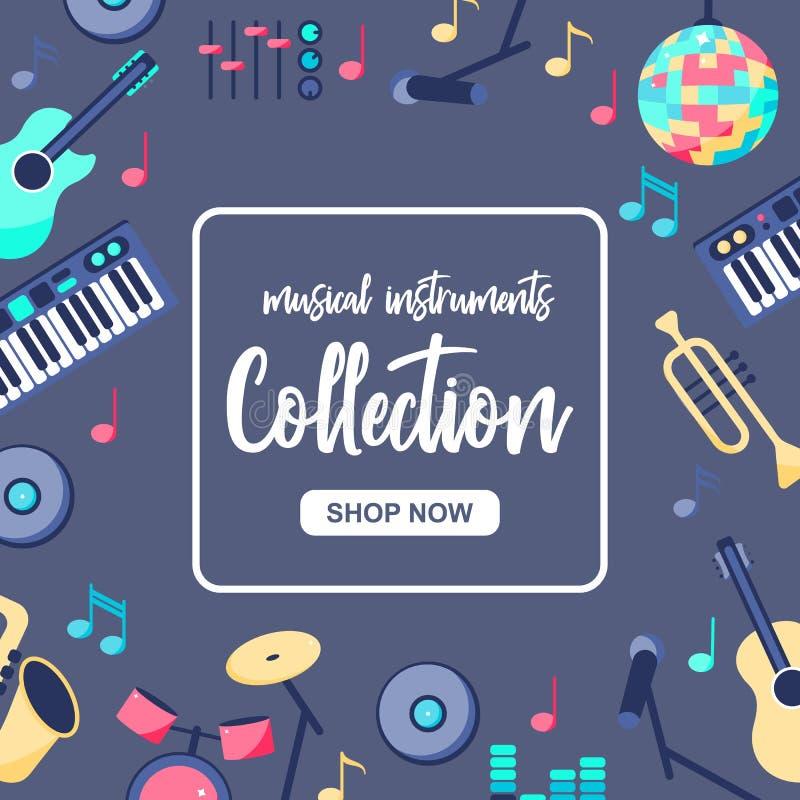 Cartel de la venta especial con los instrumentos musicales en fondo azul gris Musica; colección de los intstuments con ilustración del vector