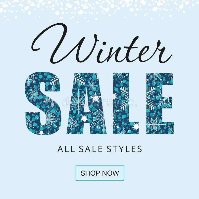 Cartel de la venta de invierno con copos de nieve aislados en fondo azul ilustración del vector
