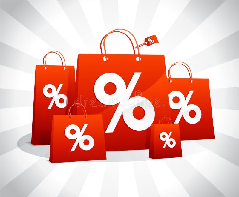 Cartel de la venta de los descuentos con los bolsos que hacen compras de papel rojos libre illustration