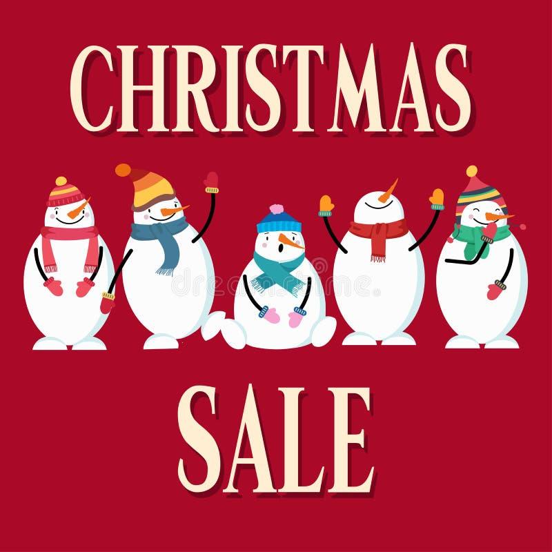 Cartel de la venta de la Navidad con el muñeco de nieve ilustración del vector