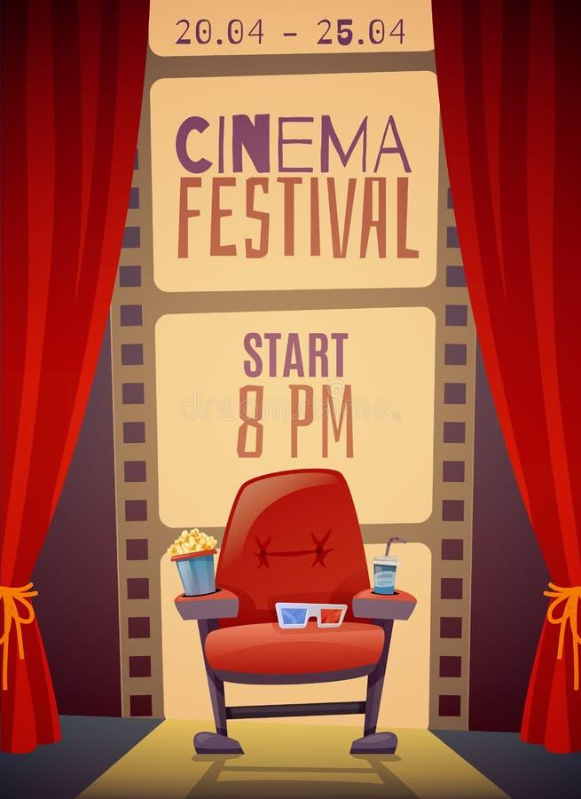 Cartel de la vertical del festival del cine ilustración del vector