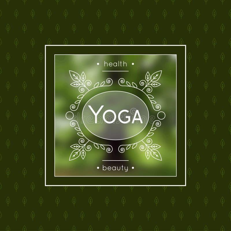 Cartel de la yoga con el ornamento floral para el BALNEARIO, estudio de la yoga, salón de belleza Diseño de la identidad con los  ilustración del vector