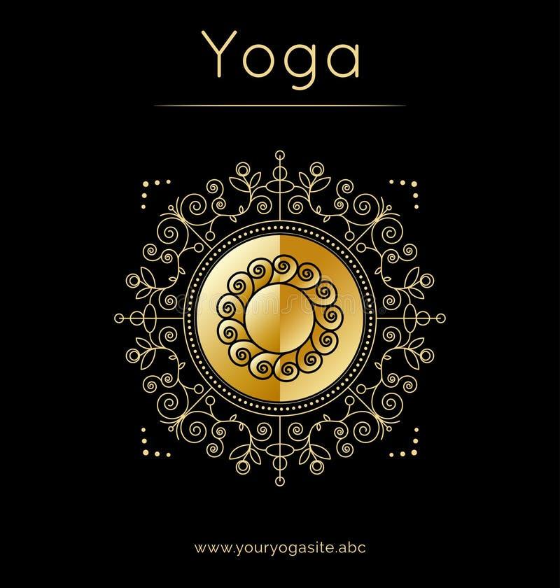 Cartel de la yoga con símbolo del ornamento floral y del sol Textura de oro ilustración del vector