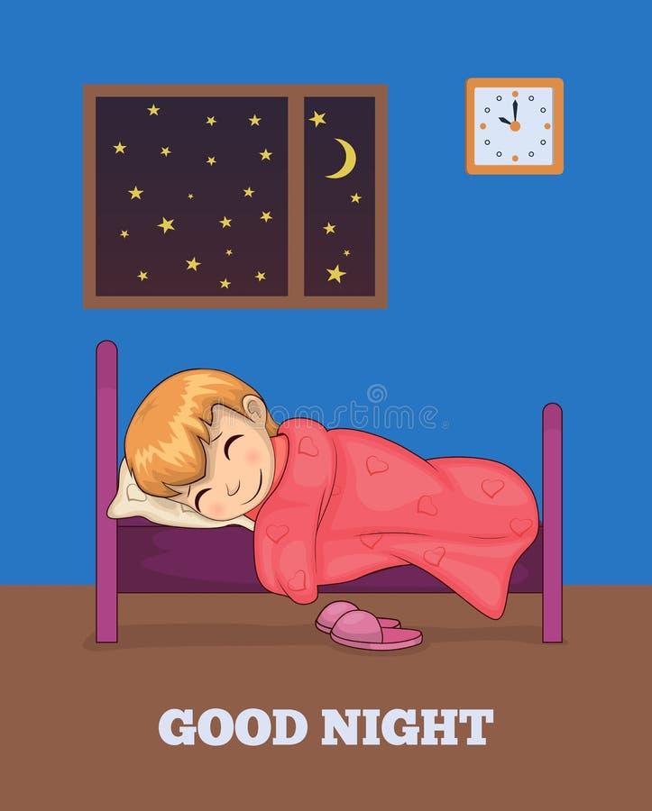 Cartel de las buenas noches con la muchacha que duerme en vector de la cama stock de ilustración