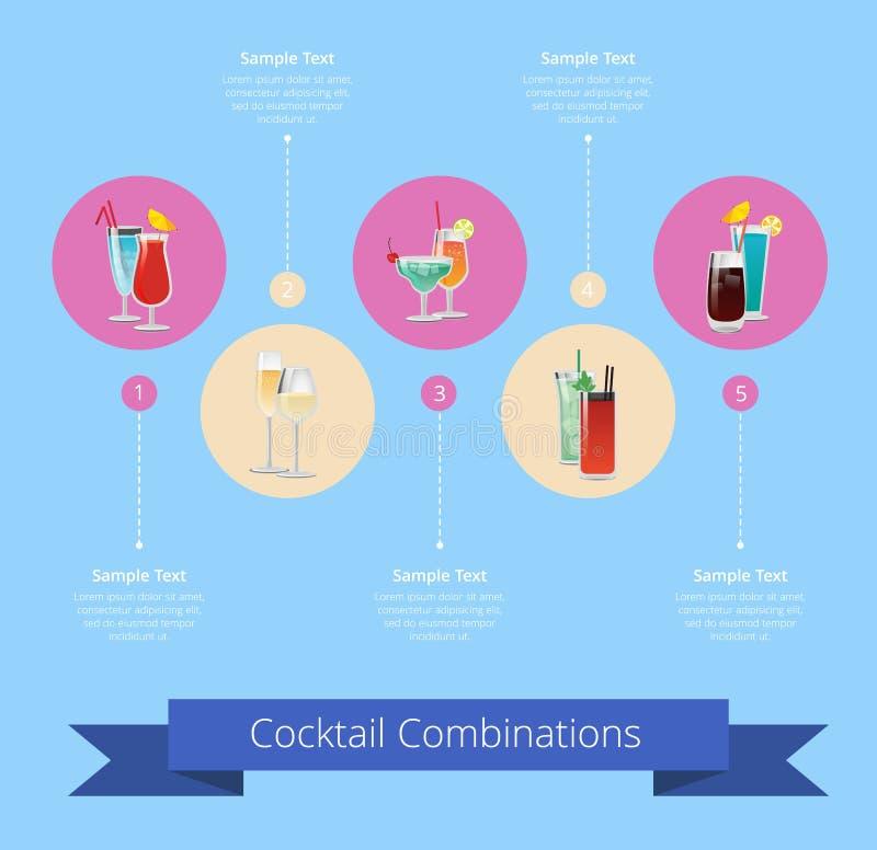 Cartel de las combinaciones del cóctel con la bebida del alcohol stock de ilustración