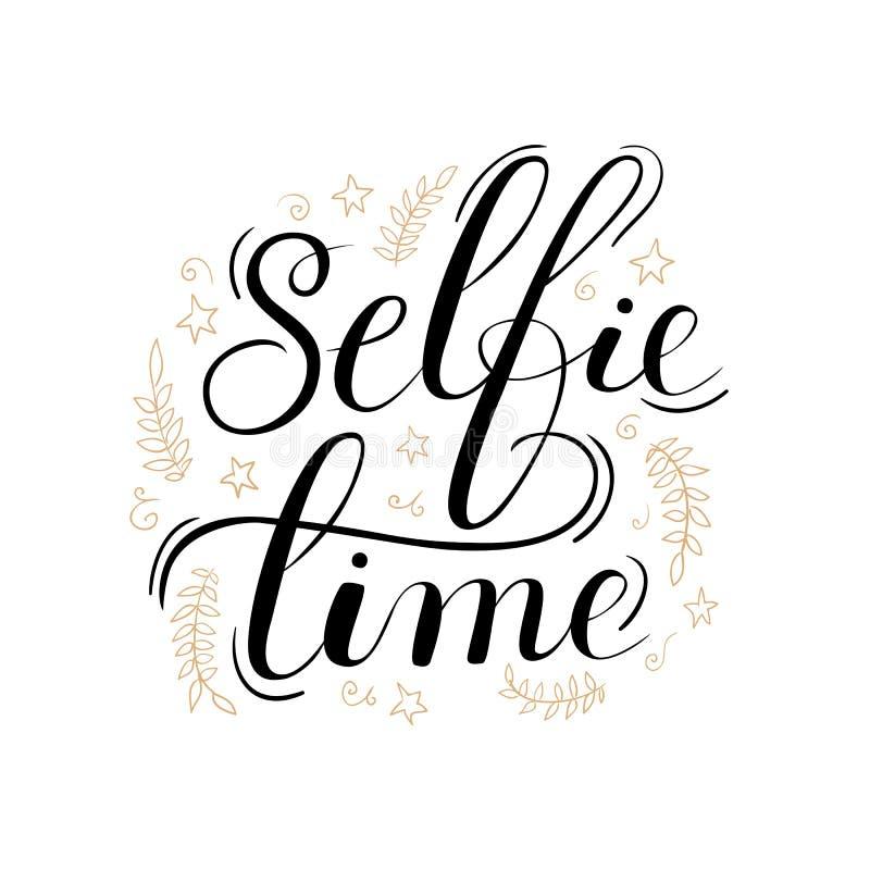 Cartel de las letras del tiempo de Selfie stock de ilustración