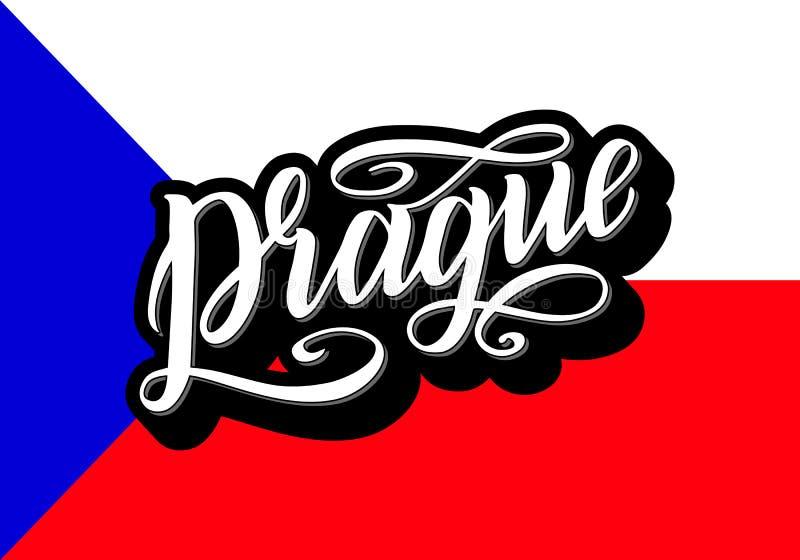 Cartel de las letras de Praga para su diseño Tipografía creativa Tarjeta de felicitación dibujada mano con el texto Praga con el  libre illustration
