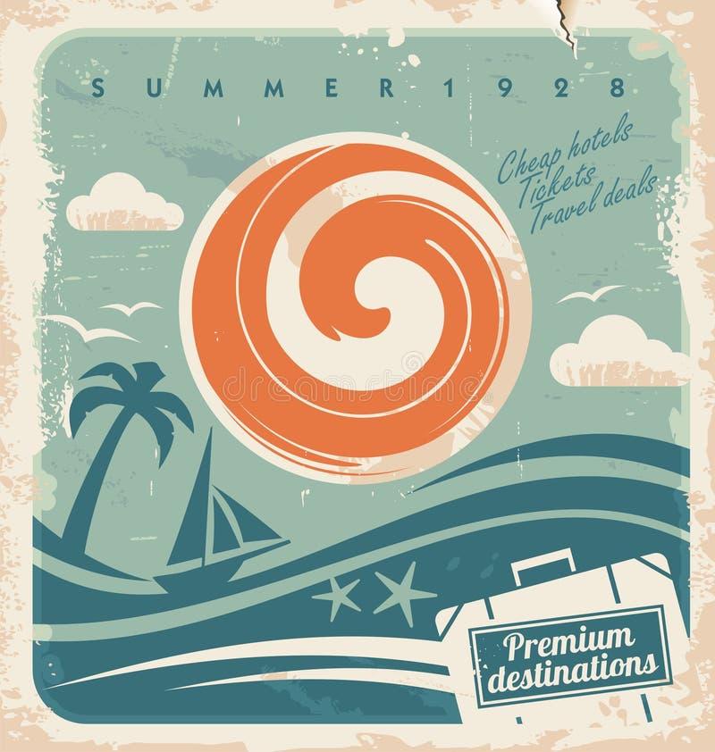 Cartel de las vacaciones de verano del vintage stock de ilustración