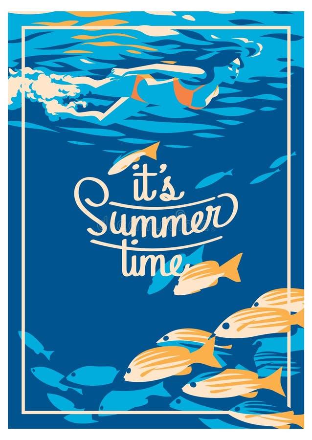 Cartel de las vacaciones de verano y del campamento de verano libre illustration