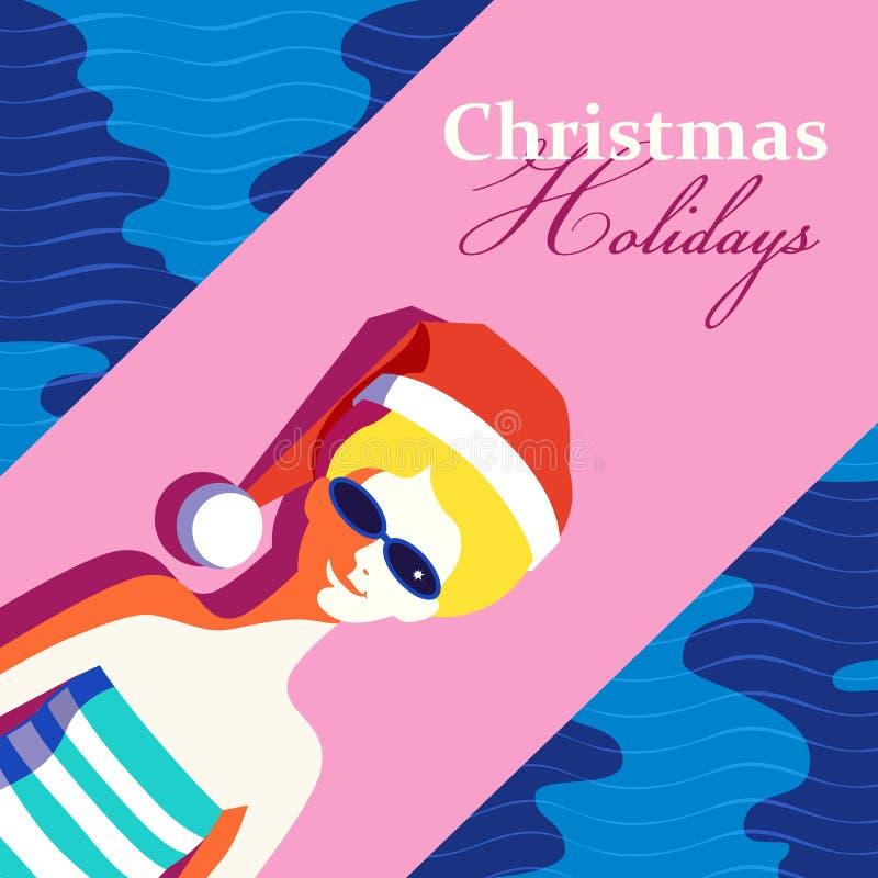 Cartel de las vacaciones de la Navidad stock de ilustración