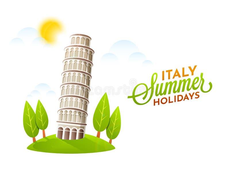 Cartel de las vacaciones de verano de Italia con Pisa, la torre inclinada y el gre libre illustration