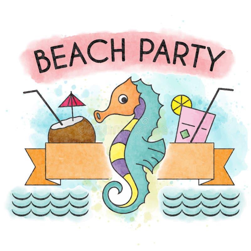 Cartel de las vacaciones de verano de la acuarela Bandera del verano stock de ilustración
