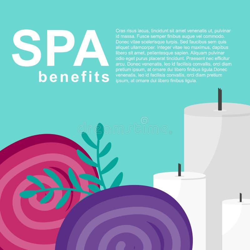 Cartel de las ventajas del balneario con las toallas y las velas libre illustration