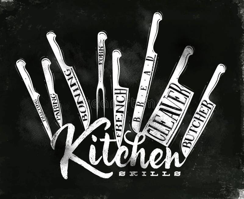 Cartel de los cuchillos de corte de la carne stock de ilustración