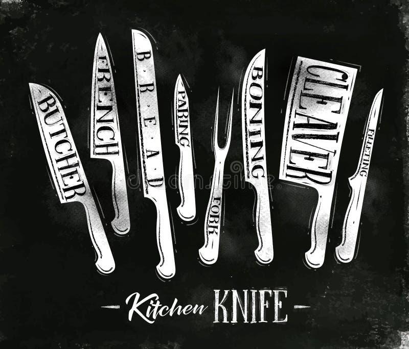 Cartel de los cuchillos de corte de la carne de la cocina stock de ilustración