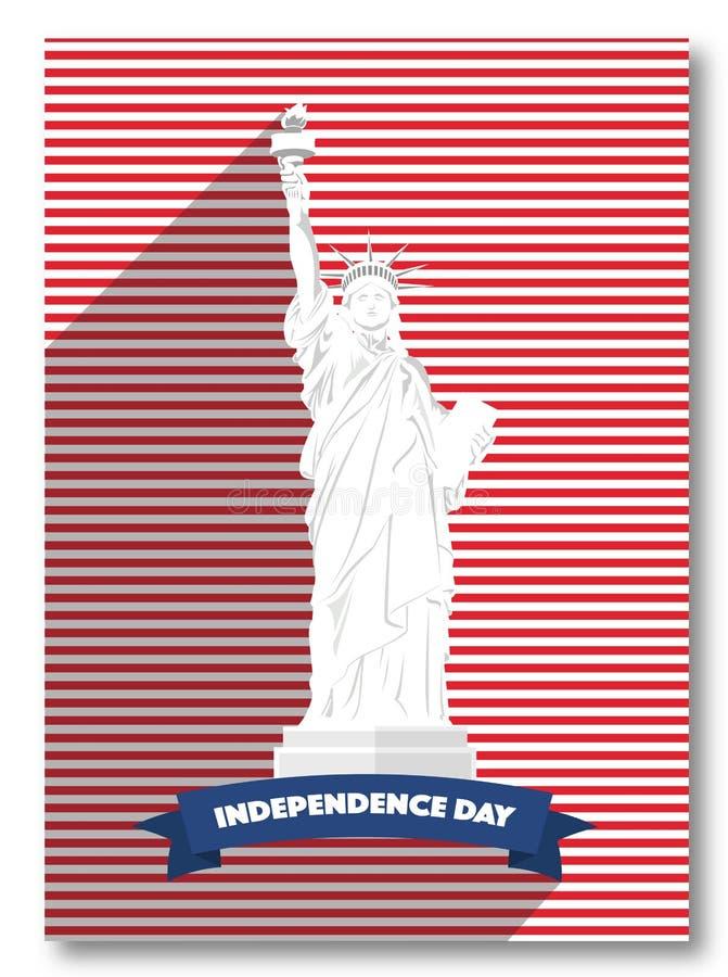 Cartel de los E.E.U.U. del Memorial Day del vector Tarjeta del Día de la Independencia, estatua de la libertad 4 de julio saludo  libre illustration