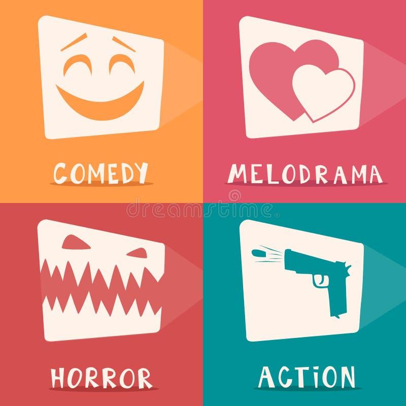 Cartel de los géneros de la película Ilustración del vector de la historieta ilustración del vector