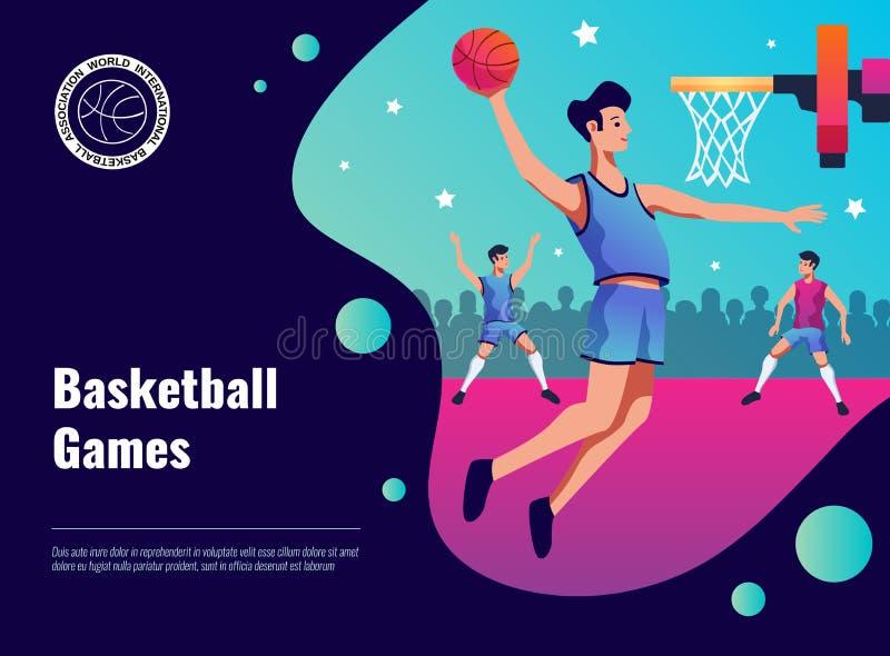 Cartel de los juegos de baloncesto ilustración del vector